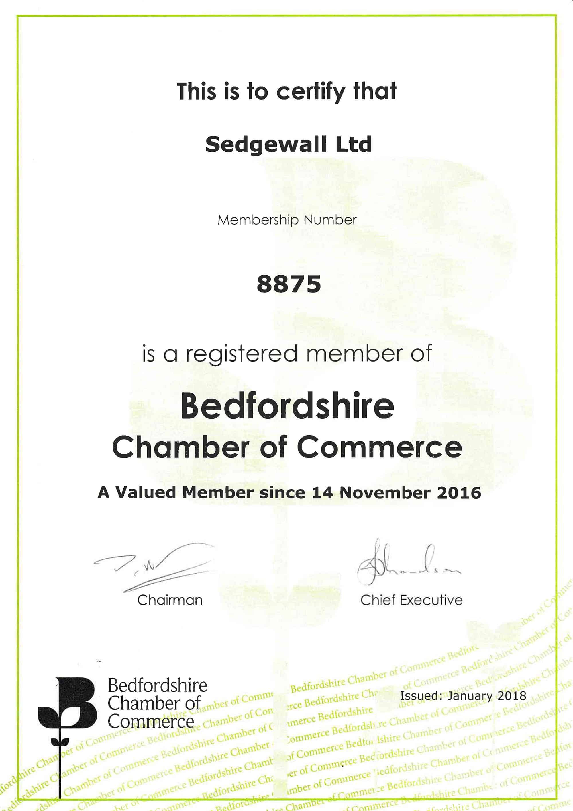 Bedfordshire Chamber Of Commerce Certificate